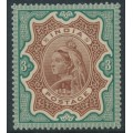 INDIA - 1895 3R brown/green Queen Victoria, single star watermark, MH – SG # 108