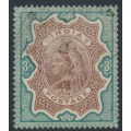 INDIA - 1895 3R brown/green Queen Victoria, single star watermark, used – SG # 108
