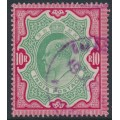 INDIA - 1909 10R green/carmine King Edward VII definitive, used – SG # 144