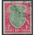 INDIA - 1927 10R green/scarlet KGV, inverted multiple star watermark, used – SG # 217w
