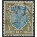 INDIA - 1928 15R blue/olive KGV, multiple star watermark, used – SG # 218