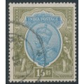 INDIA - 1928 15R blue/olive KGV, inverted multiple star watermark, used – SG # 218w
