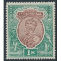 INDIA - 1913 1R brown/green King George V, single star watermark, used – SG # 186