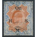 INDIA - 1909 25R brownish orange/blue King Edward VII overprinted On H.M.S., used – SG # O72