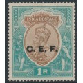INDIA - 1921 1R brown/green King George V overprinted CEF, MNG – SG # C34