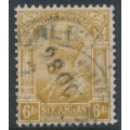 INDIA - 1935 6a bistre KGV, inverted multiple stars watermark, used – SG # 239w