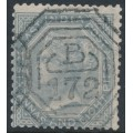 INDIA - 1867 6a8p slate Queen Victoria, B172 cancel (= Singapore), used – SG # 72 / Z90