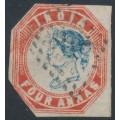 INDIA - 1855 4a blue/red QV, 4th printing, head = die III, frame = die II, used – SG # 23