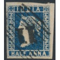 INDIA - 1854 ½a deep blue Queen Victoria, die I, imperforate, used – SG # 4
