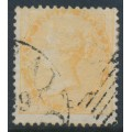 INDIA - 1863 2a yellow QV, white paper, no watermark, used – SG # 43