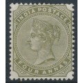INDIA - 1885 4a olive-green Queen Victoria, inverted single star watermark, MH – SG # 96w