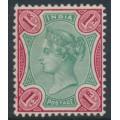 INDIA - 1892 1R green/aniline carmine Queen Victoria, single star watermark, MH – SG # 106
