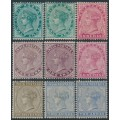 INDIA - 1882 ½a to 2a Queen Victoria, star watermark, short set of 9, MH – SG # 84-92
