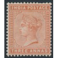 INDIA - 1890 3a brown-orange Queen Victoria, star watermark, MH – SG # 94