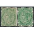 INDIA - 1892-1897 2a6p yellow-green & blue-green Queen Victoria, MH – SG # 103-104