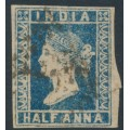 INDIA - 1855 ½a blue Queen Victoria, die III, imperforate, used – SG # 8a