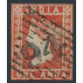 INDIA - 1854 1a dull red Queen Victoria, die II, imperforate, used – SG # 14