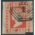 INDIA - 1855 1a red Queen Victoria, die III, imperforate, used – SG # 15
