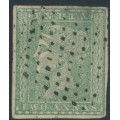 INDIA - 1854 2a pale green Queen Victoria, imperforate, used – SG # 31