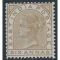 INDIA - 1876 6a olive-bistre QV, elephant watermark, MH – SG # 80