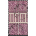 INDIA - 1933 2a purple KGV, block of 4 tête-bêche pairs with gutter, used– SG # 206a