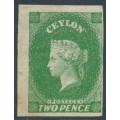 CEYLON - 1857 2d yellowish green QV, imperforate, large star watermark, MNG – SG # 3a