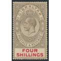 GIBRALTAR - 1912 4/- black/carmine KGV definitive, crown CA watermark, MH – SG # 83