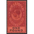 GIBRALTAR - 1912 £1 dull purple/black on red KGV definitive, crown CA watermark, MH – SG # 85
