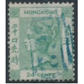 HONG KONG - 1862 24c green Queen Victoria with no watermark, used – SG # 5