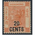 HONG KONG - 1881 20c on 30c orange-red Queen Victoria, MH – SG # 40