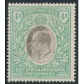 EAST AFRICA & UGANDA PROTECTORATES - 1907 4R grey/emerald-green KEVII definitive, multi crown CA watermark, MH – SG # 29