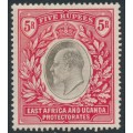EAST AFRICA & UGANDA PROTECTORATES - 1907 5R grey/red KEVII definitive, multi crown CA watermark, MH – SG # 30