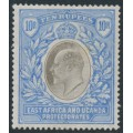 EAST AFRICA & UGANDA PROTECTORATES - 1907 10R grey/ultramarine KEVII definitive, multi crown CA watermark, MH – SG # 31
