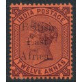 BRITISH EAST AFRICA - 1895 12a purple/red QV issue of India overprinted, MH – SG # 58