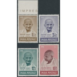 INDIA - 1948 1½a to 10R Mahatma Gandhi set of 4, MNH – SG # 305-308