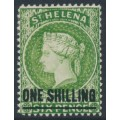 ST HELENA - 1863 ONE SHILLING on 6d yellow-green QV, crown CA watermark, MH – SG # 45