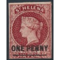 ST HELENA - 1863 ONE PENNY on 6d lake QV, imperf., overprint has a short bar, MH – SG # 3