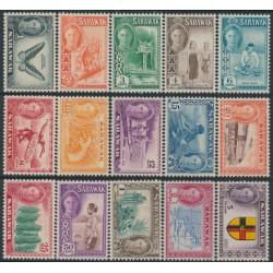SARAWAK - 1950 1c to $5 King George VI definitives set of 15, MH – SG # 171-185