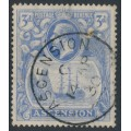 ASCENSION IS - 1924 3d blue Sailing Ship KGV definitive, used – SG # 14