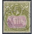 ASCENSION IS - 1927 5d purple/olive-green Sailing Ship KGV definitive, used – SG # 15d