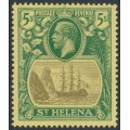 ST HELENA - 1922 5/- grey/green Badge of St. Helena, MH – SG # 95