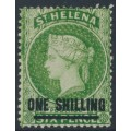 ST HELENA - 1880 ONE SHILLING on 6d yellow-green QV, crown CC watermark, perf. 14, MH – SG # 30