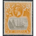 ST HELENA - 1922 7/6 grey-brown/yellow-orange Badge of St. Helena, has a variety, MH – SG # 111