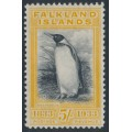 FALKLANDS IS - 1933 5/- black/yellow Centenary of British Administration (King Penguin), MH – SG # 136