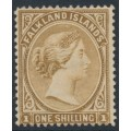 FALKLANDS IS - 1896 1/- yellow-brown QV, crown CA watermark, MH – SG # 38