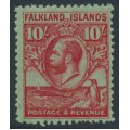 FALKLANDS IS - 1929 10/- carmine/emerald King George V & Penguin definitive, MNH – SG # 125