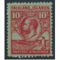 FALKLANDS IS - 1929 10/- carmine/emerald King George V & Penguin definitive, MNH – SG # 125