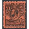 FALKLANDS IS - 1929 £1 black/red King George V & Penguin definitive, MNH – SG # 126