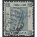 HONG KONG - 1870 4c slate QV, crown CC watermark, perf. 12½, used – SG # 9f
