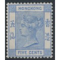 HONG KONG - 1882 5c blue Queen Victoria, crown CA watermark, MH – SG # 35a